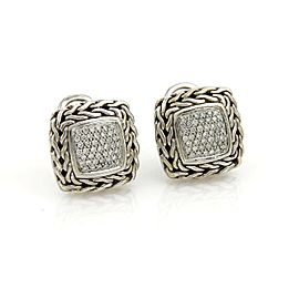 John Hardy Classic Chain Diamond Sterling Silver Square Earrings