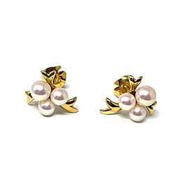 Mikimoto Akoya Pearls 18k Yellow Gold Floral Stud Earrings