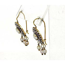 Vintage 14k Yellow Gold Enamel & Pearls Floral Hook Drop Dangle Earrings