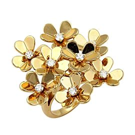 Van Cleef & Arpels Frivole 8 Diamond Flowers Cluster 18k Yellow Gold Ring