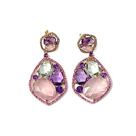 Multi-Color Gemstone 14k Pink Gold Fancy Drop Dangle Earrings