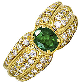 Damiani 1.66 Carat 18k Yellow Gold Emerald Diamond Cocktail Ring