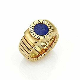 Bvlgari Lapis Circle Tubogas 18k Yellow Band Gold Ring