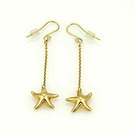 Tiffany & Co. Elsa Peretti Starfish Drop Dangle 18k Yellow Gold Hook Earrings
