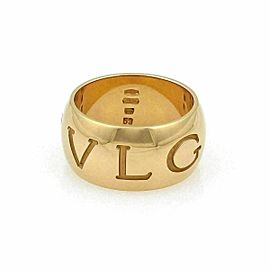 Bvlgari Monologo 18k Yellow Gold Wide Band Ring Size 53 US 6