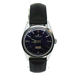 Breitling Geneve Day Date Purple Dial Stainless Steel Watch 2528/3