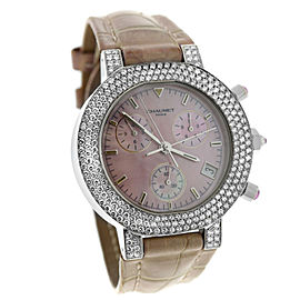 Ladies Chaumet Chronograph 18K White Gold MOP Diamond 40MM Watch
