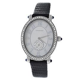 Ladies Tourneau 34004-A-Wht Quartz Diamond Steel 26MM MOP Watch
