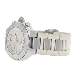 Ladies Cartier Chronoscaph 2996 Steel 32MM Chrono Date Quartz Watch