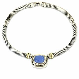 David Yurman 14k Gold Sterling Silver Chalcedony Cable Classics Choker Necklace