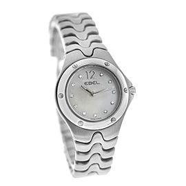 New Ladies' Ebel Sport Wave 9956K21 Steel 28MM Diamond MOP Quartz $2,400 Watch