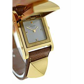 Lady Hermes Medor Stud Gold Plated Bracelet Leather Quartz 23MM Watch