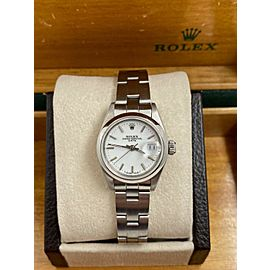 Rolex Ladies Date 69160 White Dial Stainless Steel Box Papers
