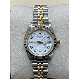 Rolex Ladies Datejust 79173 White Dial 18K Yellow Gold Stainless Steel Box Paper