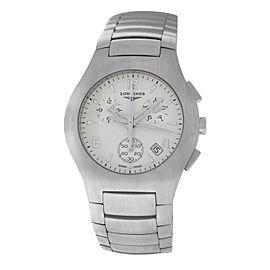 New Men's Longines Oposition L3.618.4.76.6 Steel Quartz 38mm Chronograph Watch