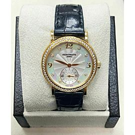 Patek Philippe Calatrava 4959J Mother of Pearl Diamond Dial Bezel Box Papers