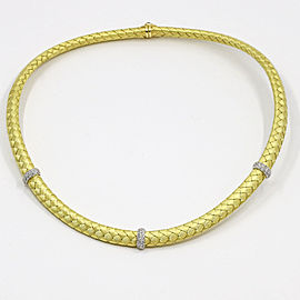 Roberto Coin Silk Woven Diamond 18k Yellow Gold Choker Necklace