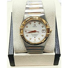 Omega Constellation 1304.35.00 Diamond 18K Rose Gold Steel 35MM Box Papers