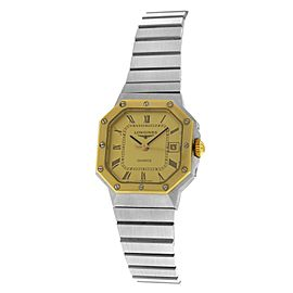 New Ladies' Longines Octagon Stainless Steel Yellow Gold Quartz 24mm Watch