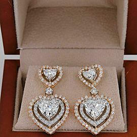 Heart Shape 6.75 tcw Diamond Halo Drop Earrings 18 kt White Rose & Gold GIA