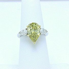Fancy Yellow Pear Shape Platinum and Diamond Engagement Ring 3.82 tcw Retail 60K