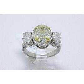 Light Yellow Oval 3 Stone Platinum Diamond Engagement Ring 6.44 tcw $60K Retail