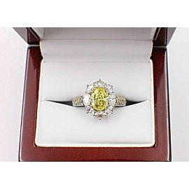 Fancy Intense Yellow Oval Diamond Engagement Ring 3.69 tcw $50,000 Retail