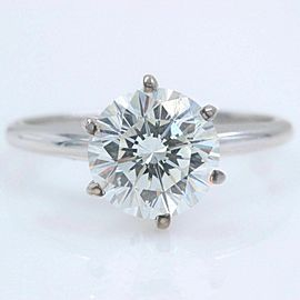 LEO DIAMOND Engagement Ring Round 2.00 cts I SI1 14k White Gold $30,000 Retail