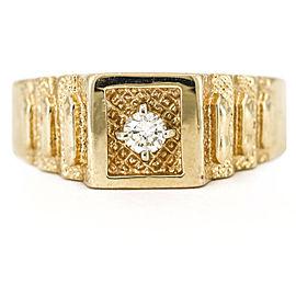 Rolex Style Textured 14k Yellow Gold Diamond Men's Ring