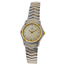 Ladies' Ebel Wave 1057901 Steel 18K Gold MOP 23mm MOP Diamond Dial Quartz Watch