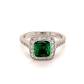 Tiffany & Co Legacy Diamond and Green Tourmaline Platinum Ring