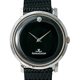 Jaeger LeCoultre Vintage Hand Wind Men's Watch 1 Diamond Dial 14k WhiteGold 33mm