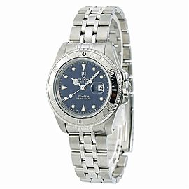 Tudor Prince Date Mini Sub 73190 Unisex Automatic Watch Blue Dial SS 34mm