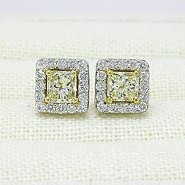 Light Yellow Princess Halo Diamond Earrings 3.96 tcw 18k White Yellow Gold 25K