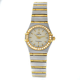 Ladies Omega Constellation 895.1203 Full Bar 18K Gold Diamond 22MM Quartz Watch