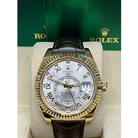 Rolex Sky Dweller 326138 18K Yellow Gold Brown Leather Strap Box Paper 2018