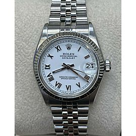 Rolex Midsize Datejust 6827 31mm White Dial Stainless Steel Mint Box Paper