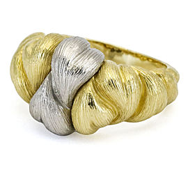 Henry Dunay Hearts Band Ring in 18k Yellow Gold and Platinum