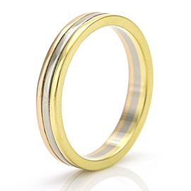 Cartier Trinity Wedding Band 18k Rose Yellow White Gold 3.5mm Anniversary Ring