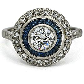 Diamond and Sapphire Art Deco Engagement Ring in Platinum (.75 ct t.w.)