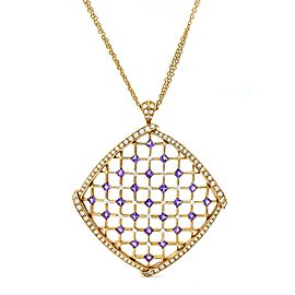 Luca Carati Diamond Amethyst Pendant Necklace in 18k Rose Gold