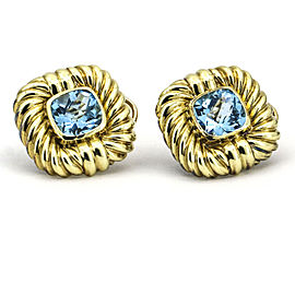 David Yurman Cable Classics Blue Topaz 14k Yellow Gold Earrings