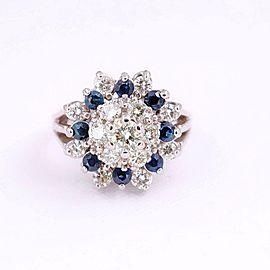 Round Brilliant Diamond & Sapphire Princess Style Flower Cocktail Ring 14kt WG
