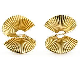 Cartier George Schuler Vintage Fan Clip-On Earrings in 14k Yellow Gold