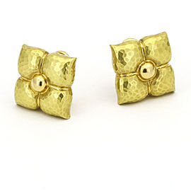 Tiffany & Co. Paloma Picasso Hammered Flower Stud Earrings 18k Yellow Gold