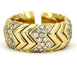 Bulgari Spiga Diamond Ring in 18k Yellow Gold Cuff Band