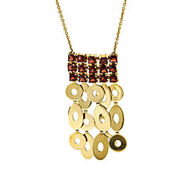 Bulgari Lucea Garnet Dangle Necklace in 18k Yellow Gold
