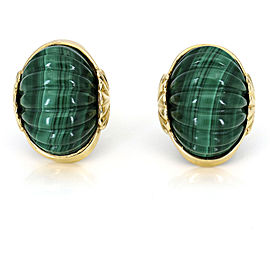 MAZ Malachite Shrimp Chip-On Earrings in 14k Yellow Gold