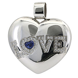 Chopard Heart Pendant Happy Love Diamond Sapphire 18k White Gold