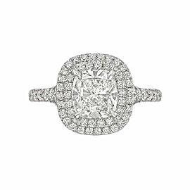 Tiffany & Co Soleste Cushion Diamond Engagement Ring 2.21 tcw Plat Certificate